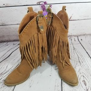 💙💜 Tan Suede leather Fringe CowGirl Boots 6.5